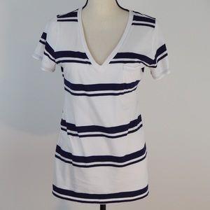 Gap Maternity V-Neck Short Sleeve Stripe Tee | Med